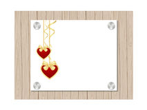 Valentines template. A piece of paper on wooden background. Vector illustration Stock Photography