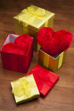 Valentines! Three gifts, two hearts Royalty Free Stock Photos