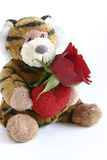 Valentines tiger. Tiger with heart and red rose isolated on white Stock Images