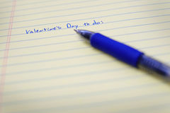 Valentines To Do List on Notebook Paper and Pen Royalty Free Stock Photos