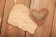 Valentines toy heart and piece of paper for copy space Stock Image