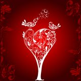 Valentines tree background, vector Royalty Free Stock Photos