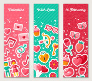 Valentines Vertical Banners Set With Flat Icons Royalty Free Stock Photography
