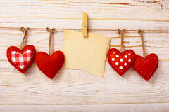 Valentines Vintage Handmade Hearts over Wooden stock image