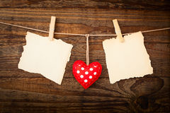 Valentines Vintage Handmade Hearts over Wooden Royalty Free Stock Photos