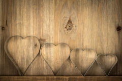 Valentines Vintage  Hearts over Wooden Background. Valentine Hea Royalty Free Stock Images