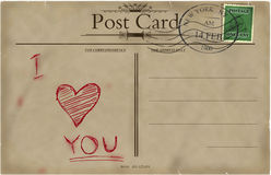 Valentines vintage postcard. Valentine's Day. Vintage postcard in the style of the early 20th century. Standard size aspect ratio. Raster Stock Photography