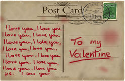 Valentines vintage postcard. Royalty Free Stock Photo