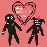Valentines voodoo dolls. Valentine card with voodoo dolls on it and text Stock Photo