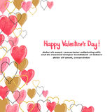 Valentines watercolor hearts balloons border for your design. Stock Photography