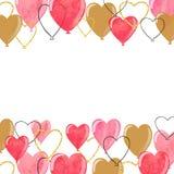 Valentines watercolor hearts balloons borders. Stock Photos