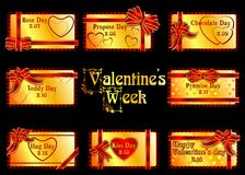 The Valentines week. Valentines set for every day. Stock Images