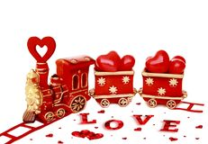 Valentines on white background, old red Valentine`s train Stock Images