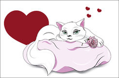 Valentines white cat Royalty Free Stock Photography