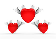 Valentines Winged hearts Royalty Free Stock Photo