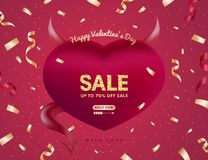 Valentine's or Women's day Sale banner or background or design for cards. All phrases by Sil Open Font License stock illustration