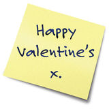 Valentines yellow note. Valentine's Day Post It Note Stock Images