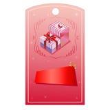 Valentinetikettsgiftbox Royaltyfria Bilder