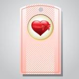 Valentinetikettshjärta Arkivfoton