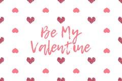 Valentinhälsningkort med text- och rosa färghjärtor stock illustrationer