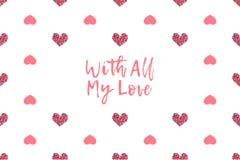 Valentinhälsningkort med text- och rosa färghjärtor royaltyfri illustrationer