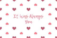 Valentinhälsningkort med text- och rosa färghjärtor Arkivbild