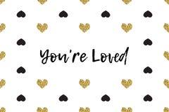 Valentinhälsningkort med text, svart och guldhjärtor stock illustrationer