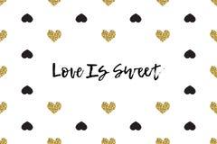 Valentinhälsningkort med text, svart och guldhjärtor royaltyfri illustrationer
