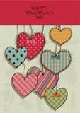 Valentinhälsningkort med urklippsbokhjärtor Arkivfoto