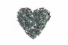 Valentinhjärta av skruvar Royaltyfria Foton