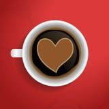 Valentinhjärta i kaffe kuper. Arkivfoto
