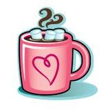 Valentinhjärta rånar med varma kakaochoklad och marshmallower Fotografering för Bildbyråer
