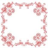 Valentinhjärta smyckar den dekorativa ramen Fotografering för Bildbyråer