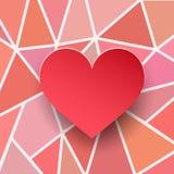 Valentinhjärtakort Pappers- textur 3d Röd hjärta på abstrakta geometriska bakgrunder vektor illustrationer