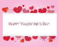 Valentinhjärtor och lycklig valentindagtext Valentindagtapet stock illustrationer