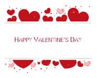 Valentinhjärtor och lycklig valentindagtext Valentindagtapet arkivfoto