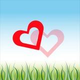 Valentinhjärtor på blåvit bakgrund med gräs Vektor Illustrationer