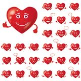 Valentinhjärtor, smileys, uppsättning Royaltyfria Bilder