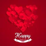 Valentinillustration, hjärtaform som göras av röda pappers- hjärtor, mall för hälsningkort Fotografering för Bildbyråer