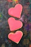 Valentinkakor i forma av hjärta arkivfoto