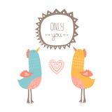 Valentinkort med fåglar Arkivbild