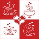 Valentinkort med gulliga djur Arkivbild
