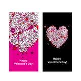 Valentinkort med hjärtaform för din design Arkivbild