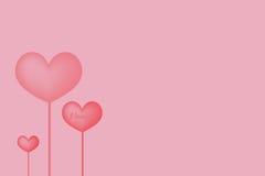 valentinkort med hjärtor Royaltyfri Bild