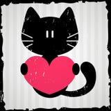 Valentinkort med katten Royaltyfria Bilder