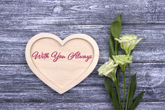 Valentinkorttext med dig alltid royaltyfria bilder