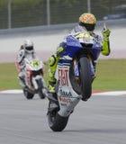Valentino italiano Rossi da equipe de Fiat Yamaha Fotografia de Stock