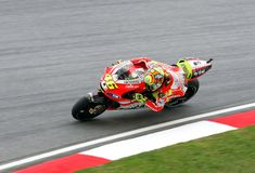 Valentino Rossi in actie in Sepang, Maleisië Stock Foto's
