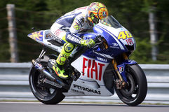 Valentino Rossi at Brno Circuit. Italian Valentino Rossi of Fiat Yamaha Team at main race of MotoGP in Grand Prix Brno Circuit Czech republic Royalty Free Stock Images
