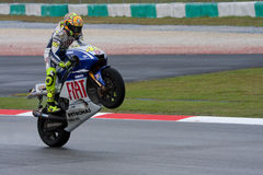 Valentino Rossi claiming world champion at MotoGP Stock Photos